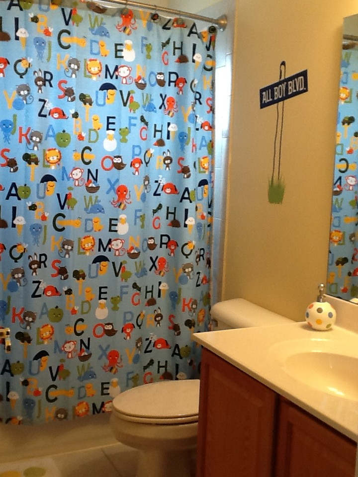 Shower curtains for boys interior design styles for Kids bathroom ideas for boys