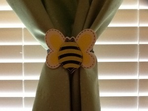 bumble bee curtain tie back