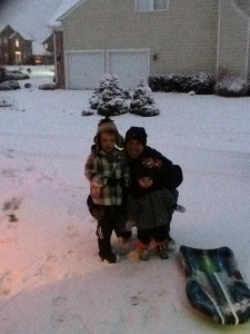 my boys in the snow