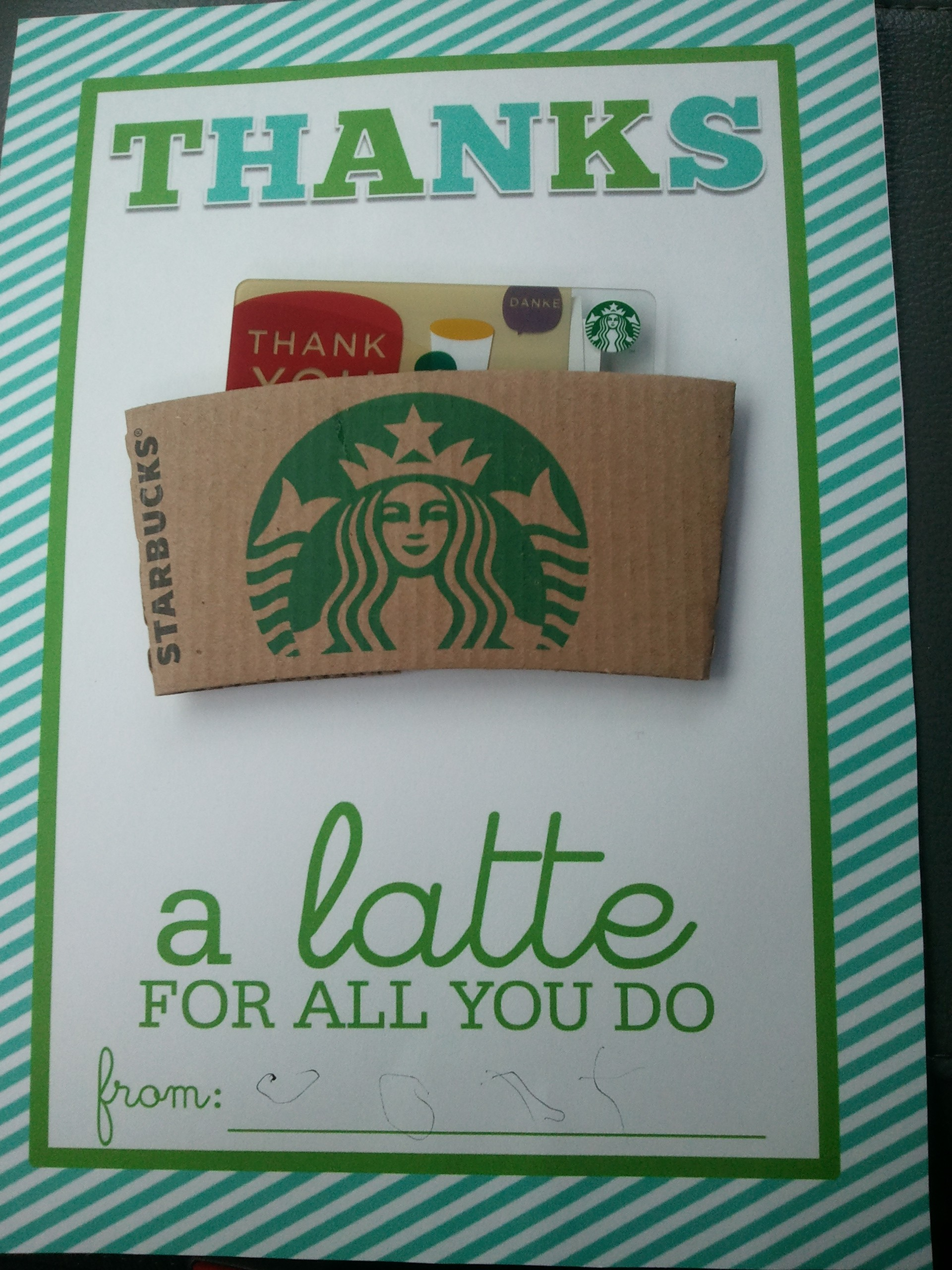 photo regarding Thanks a Latte Christmas Printable identified as Because of a latte Printable - Motherhood Company