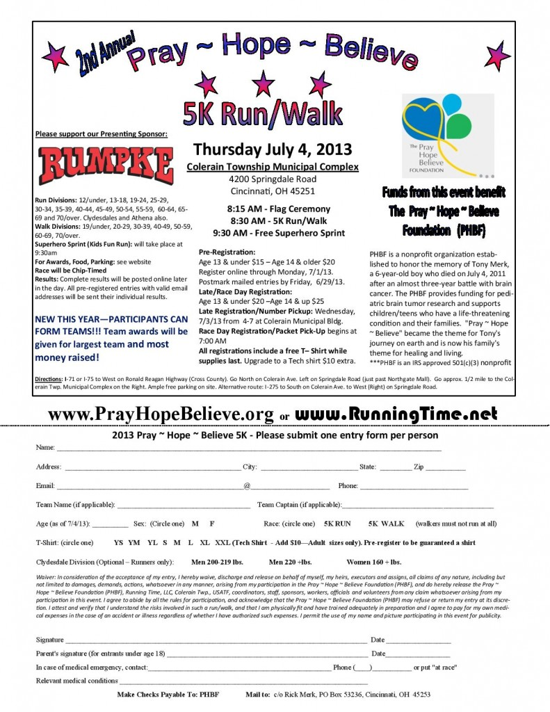 Pray~Hope~Believe 4th of July 5K
