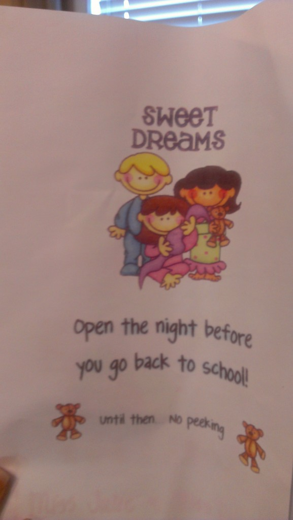 "This was from his teacher- it had a little note with some ""magic"" sparkles so he could sleep well the night before school!"